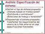 an lisis especificaci n del sistema