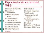 representaci n en lista del wbs