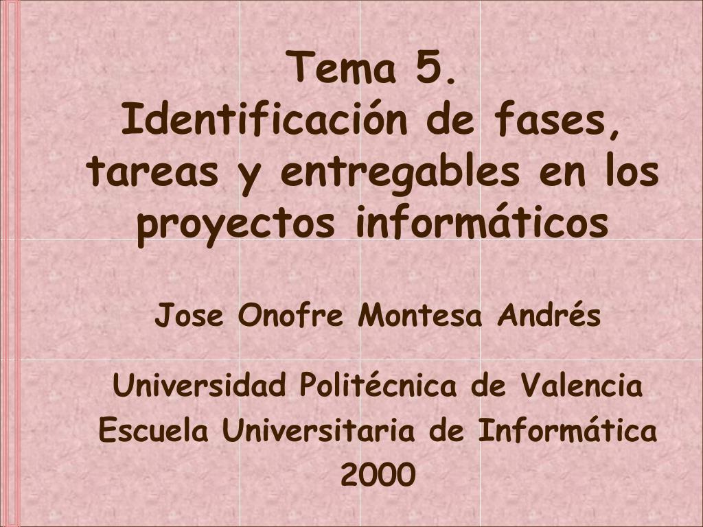 tema 5 identificaci n de fases tareas y entregables en los proyectos inform ticos l.
