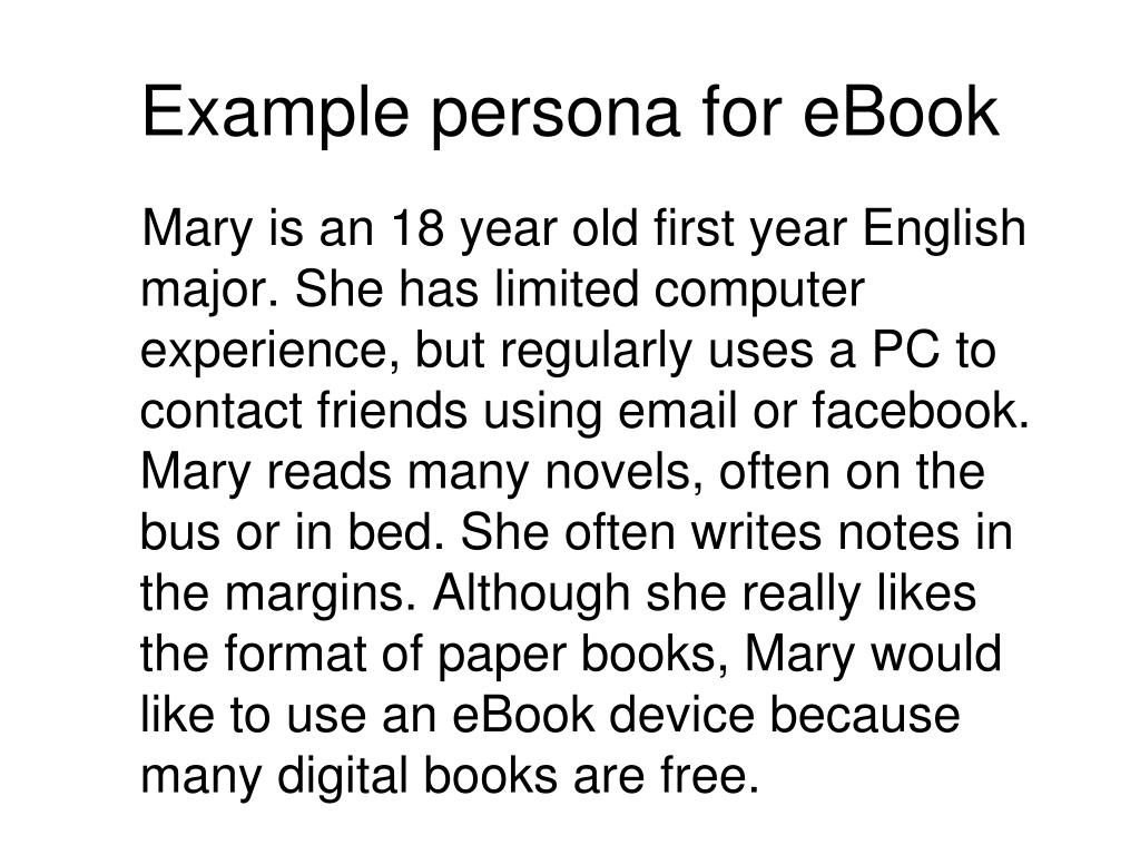 Example persona for eBook