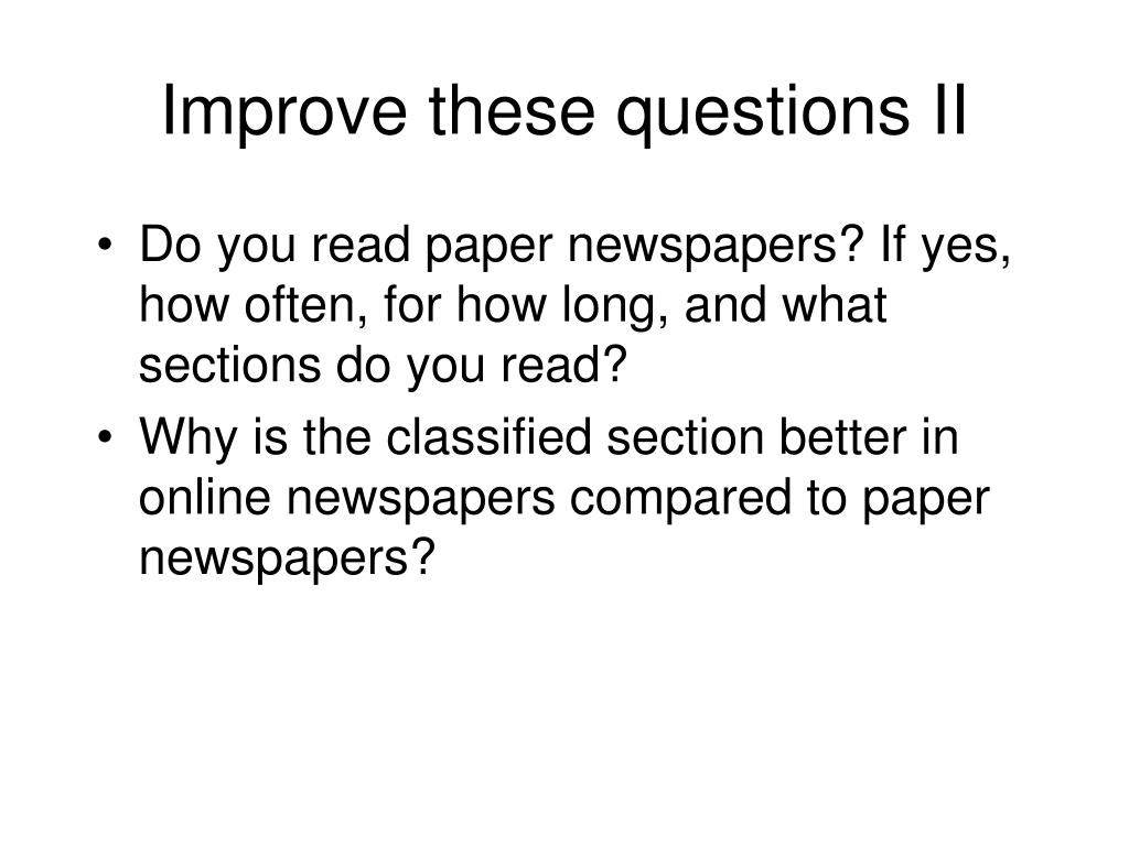 Improve these questions II