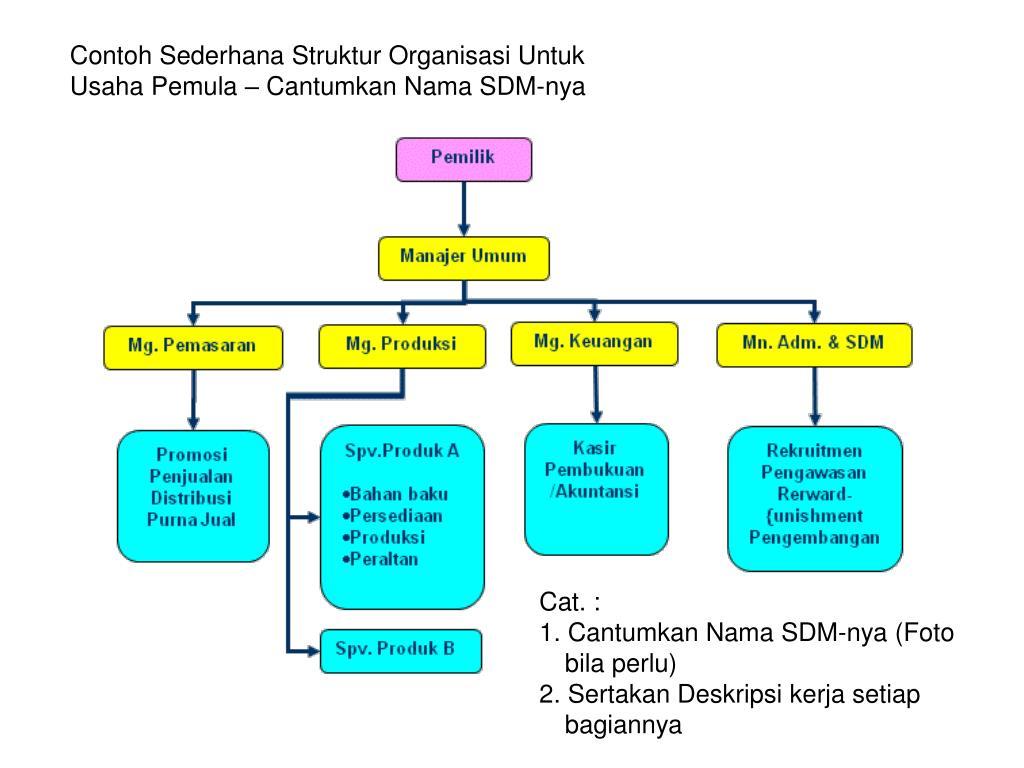Contoh Sederhana Struktur Organisasi Untuk Usaha Pemula – Cantumkan Nama SDM-nya