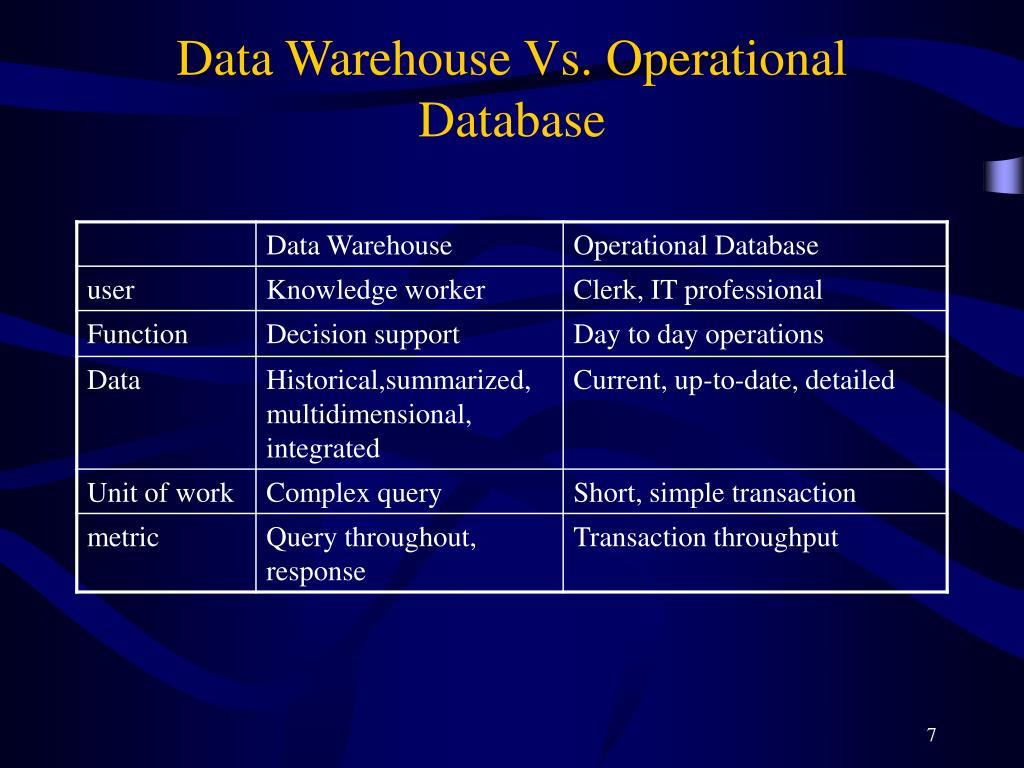 Data Warehouse Vs. Operational Database