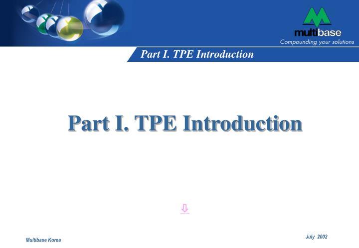 Part i tpe introduction