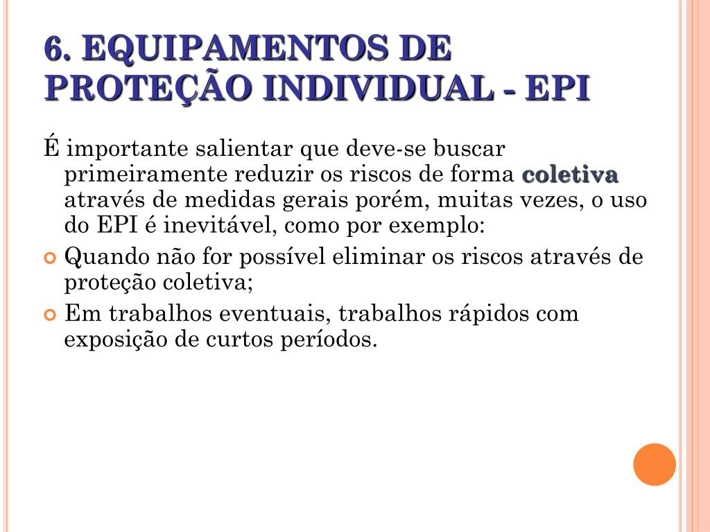 6 equipamentos de prote o individual epi l.