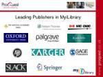 leading publishers in myilibrary43