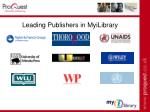 leading publishers in myilibrary44