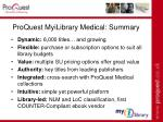 proquest myilibrary medical summary