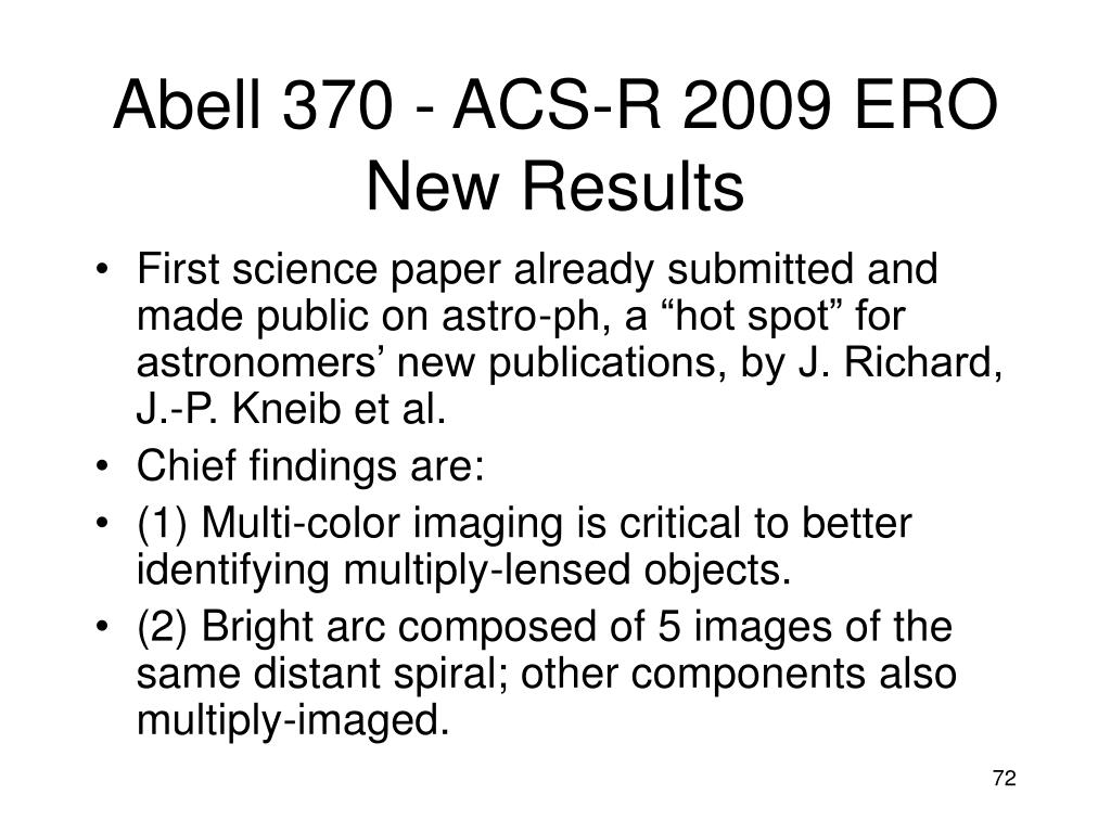 Abell 370 - ACS-R 2009 ERO New Results