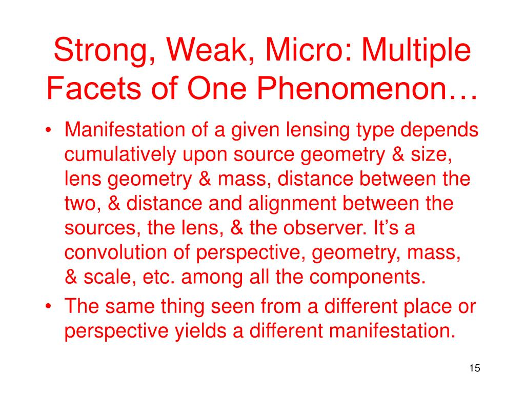 Strong, Weak, Micro: Multiple Facets of One Phenomenon…