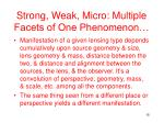 strong weak micro multiple facets of one phenomenon