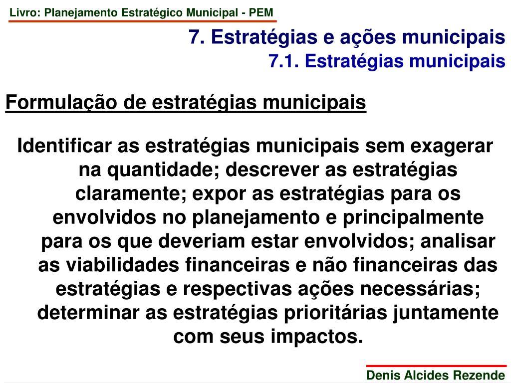 7. Estratégias e ações municipais