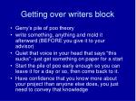 getting over writers block