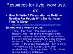 resources for style word use etc