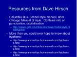 resources from dave hirsch