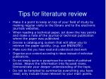 tips for literature review