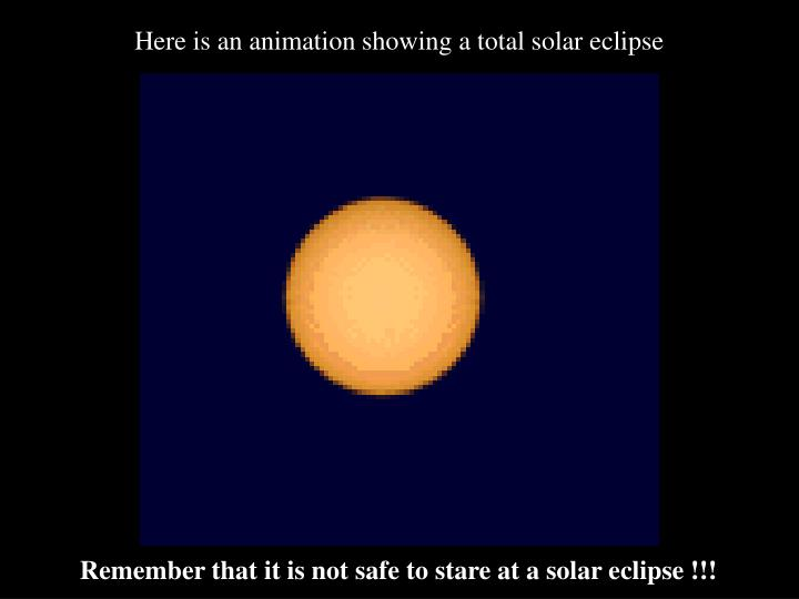 Here is an animation showing a total solar eclipse