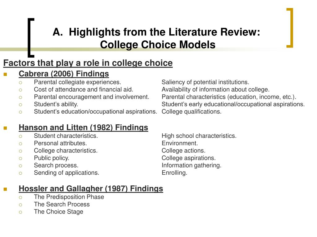 A.  Highlights from the Literature Review: