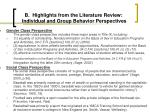 b highlights from the literature review individual and group behavior perspectives10
