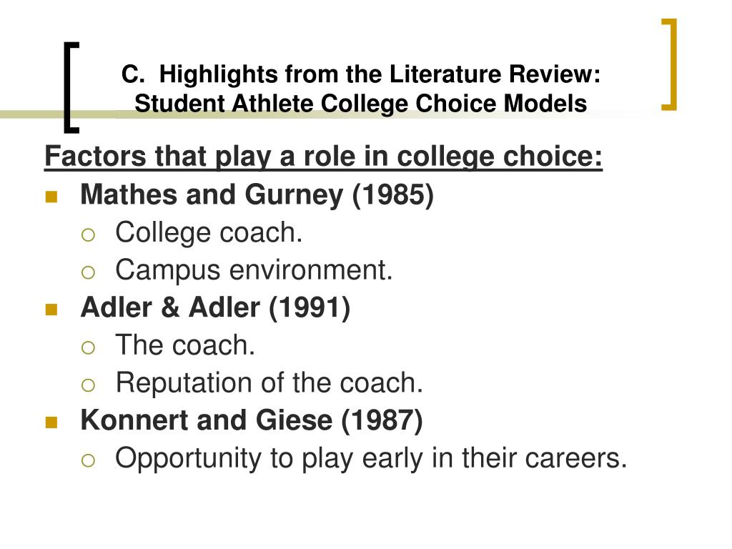 C.  Highlights from the Literature Review: Student Athlete College Choice Models