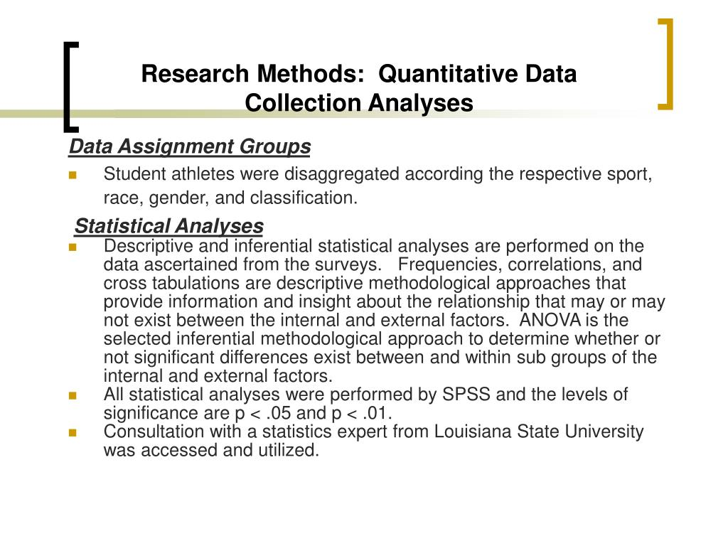 Research Methods:  Quantitative Data Collection Analyses