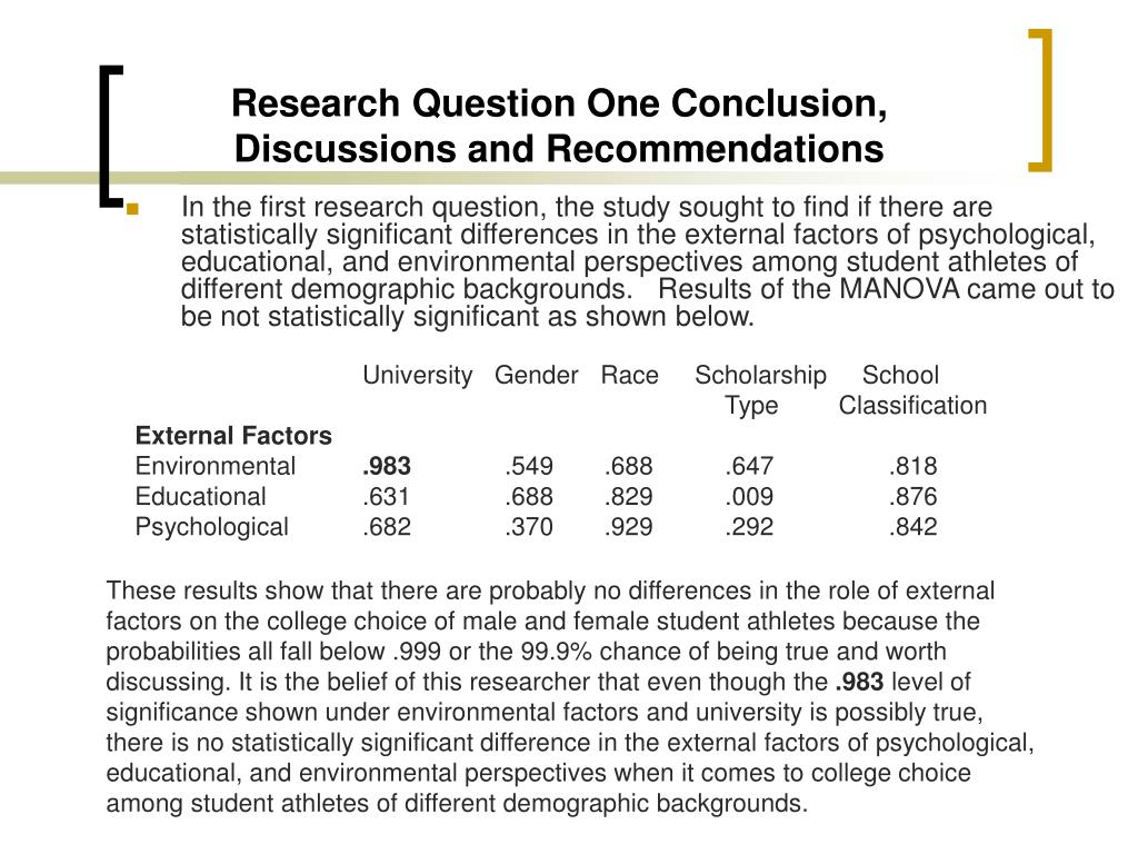 Research Question One Conclusion, Discussions and Recommendations
