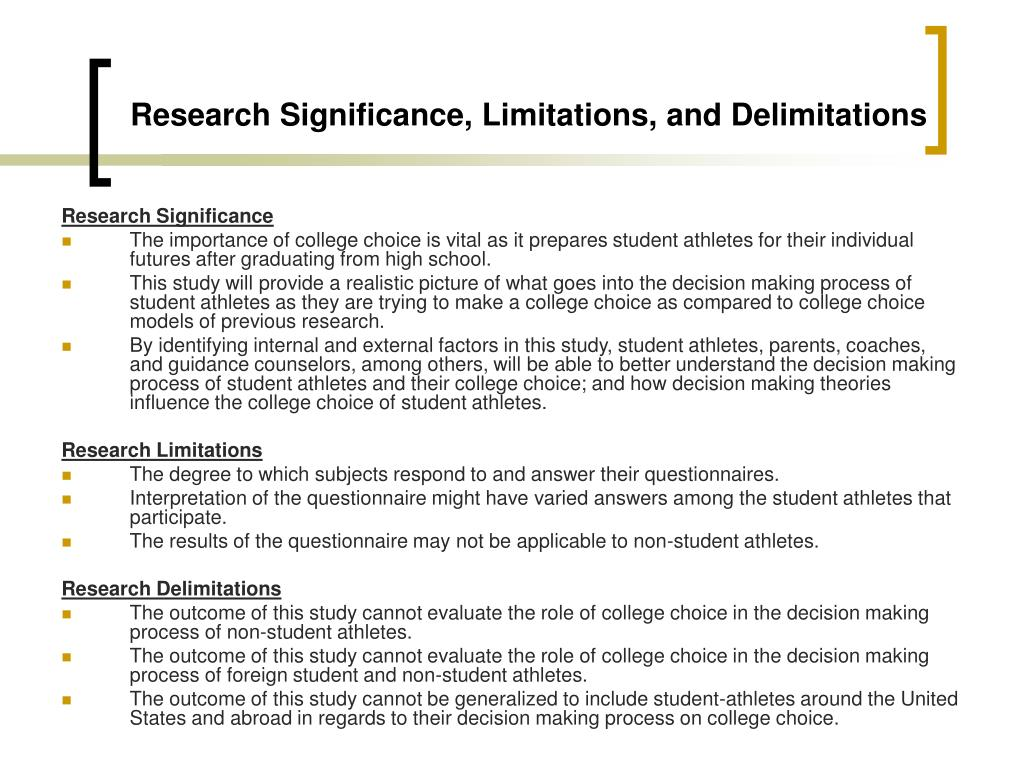 Research Significance, Limitations, and Delimitations