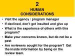 2 human considerations