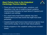 heart failure care in the outpatient cardiology practice setting