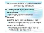 expenditure controls on pharmaceutical provision by physicians
