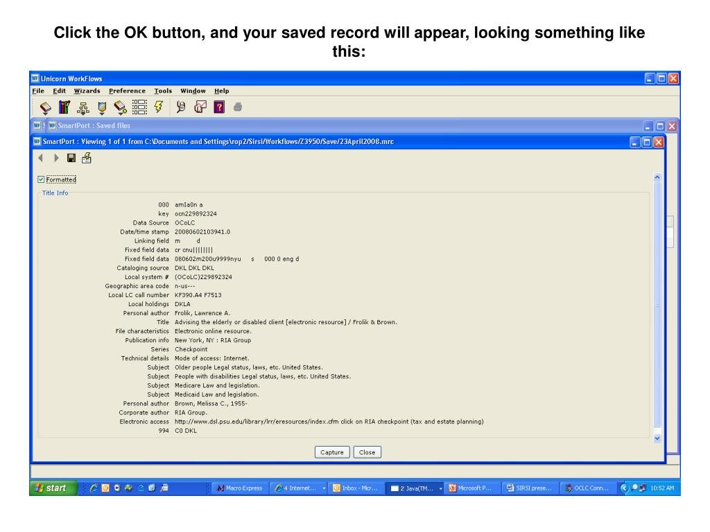 PPT - SETTING UP OCLC CONNEXION TO CAPTURE RECORDS FOR EXPORTING TO