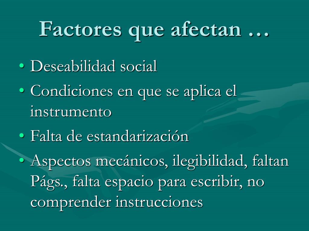 Factores que afectan …