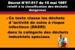 d cret n 97 517 du 15 mai 1997 relatif la classification des d chets dangereux