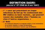 definition dasri d cret n 97 1048 du 6 nov 1997