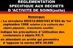 reglementation specifique aux dechets d activite de soins suite
