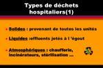 types de d chets hospitaliers 1