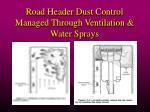 road header dust control managed through ventilation water sprays