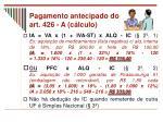 pagamento antecipado do art 426 a c lculo