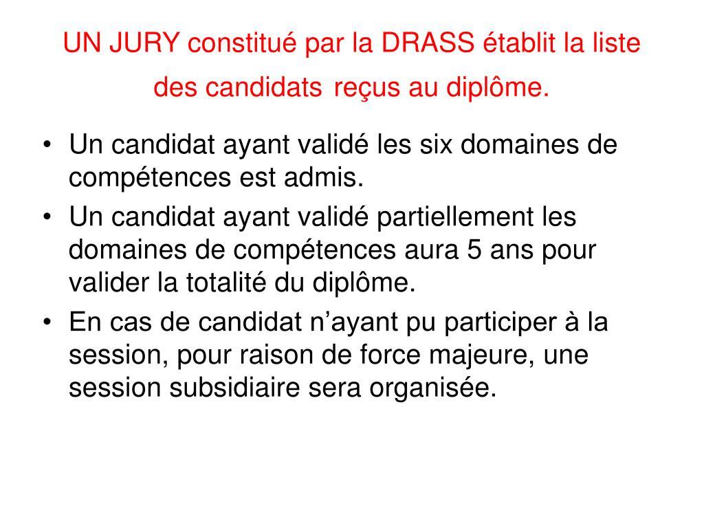UN JURY constitué par la DRASS établit la liste des candidats