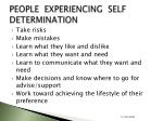 people experiencing self determination