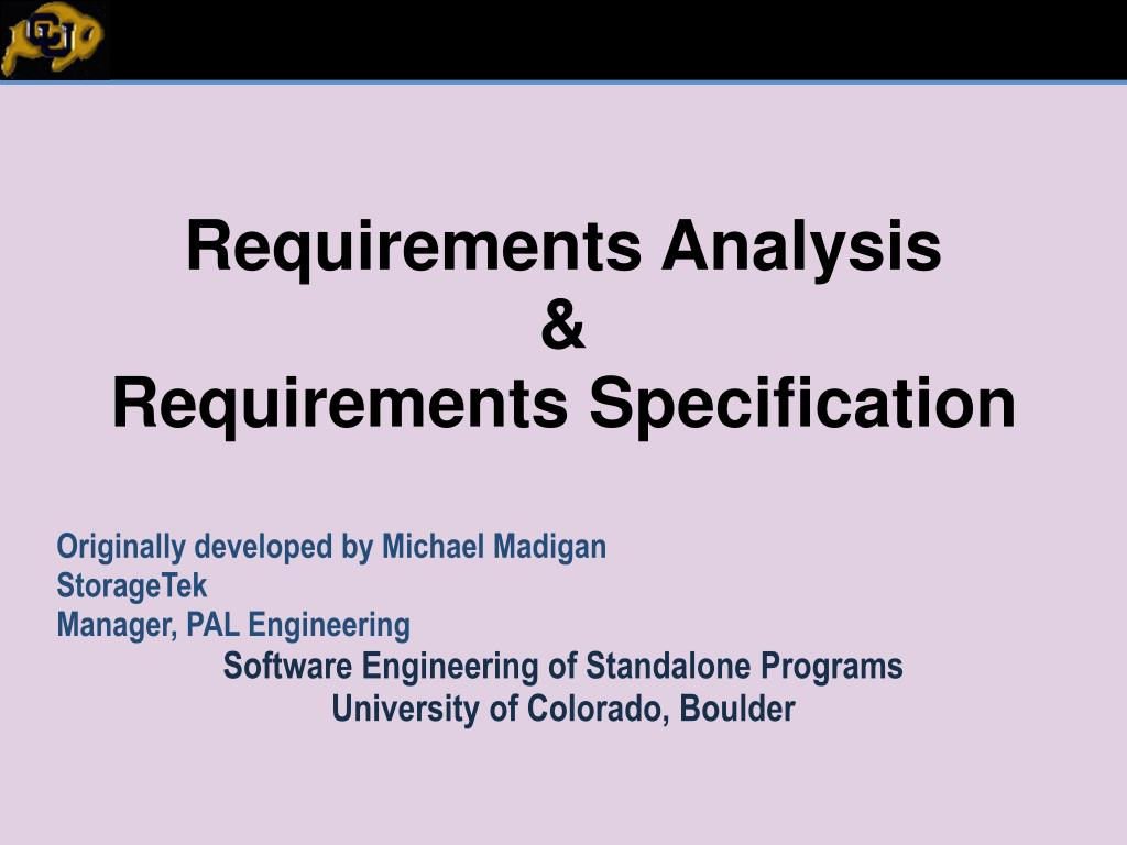 requirements analysis requirements specification l.