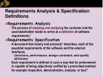 requirements analysis specification definitions