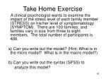 take home exercise