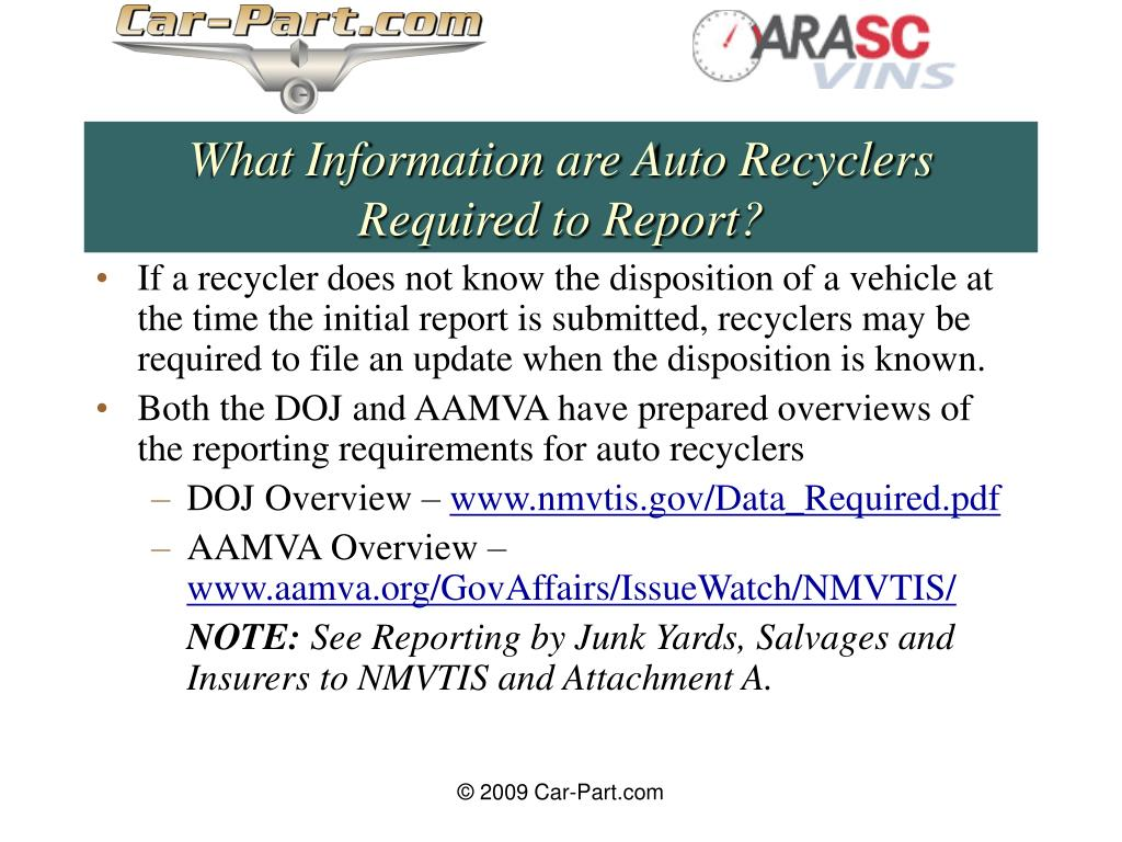 What Information are Auto Recyclers Required to Report?