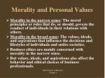 morality and personal values