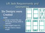 lift jack requirements and geometries