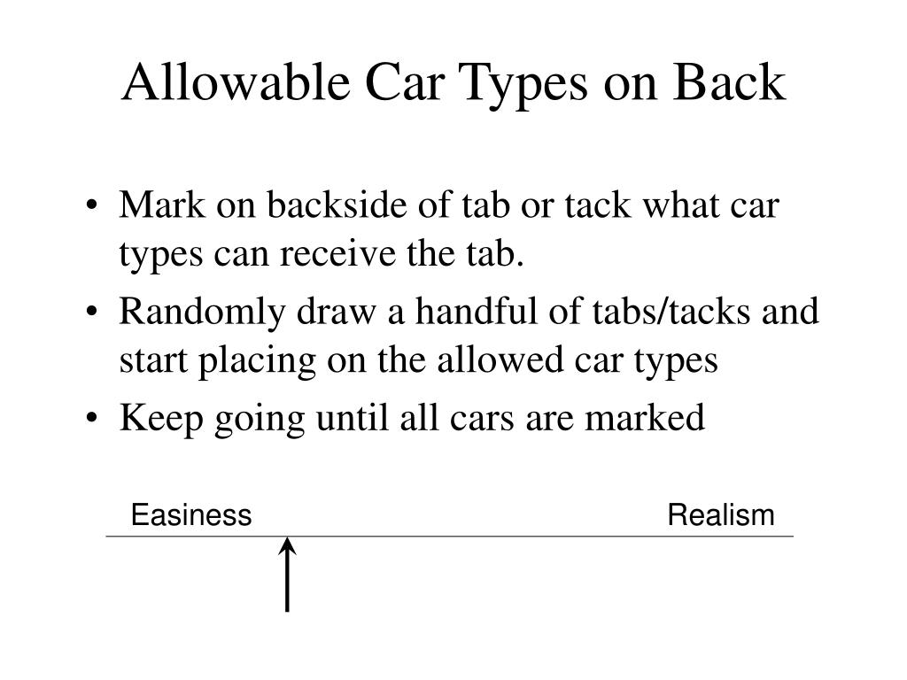 Allowable Car Types on Back