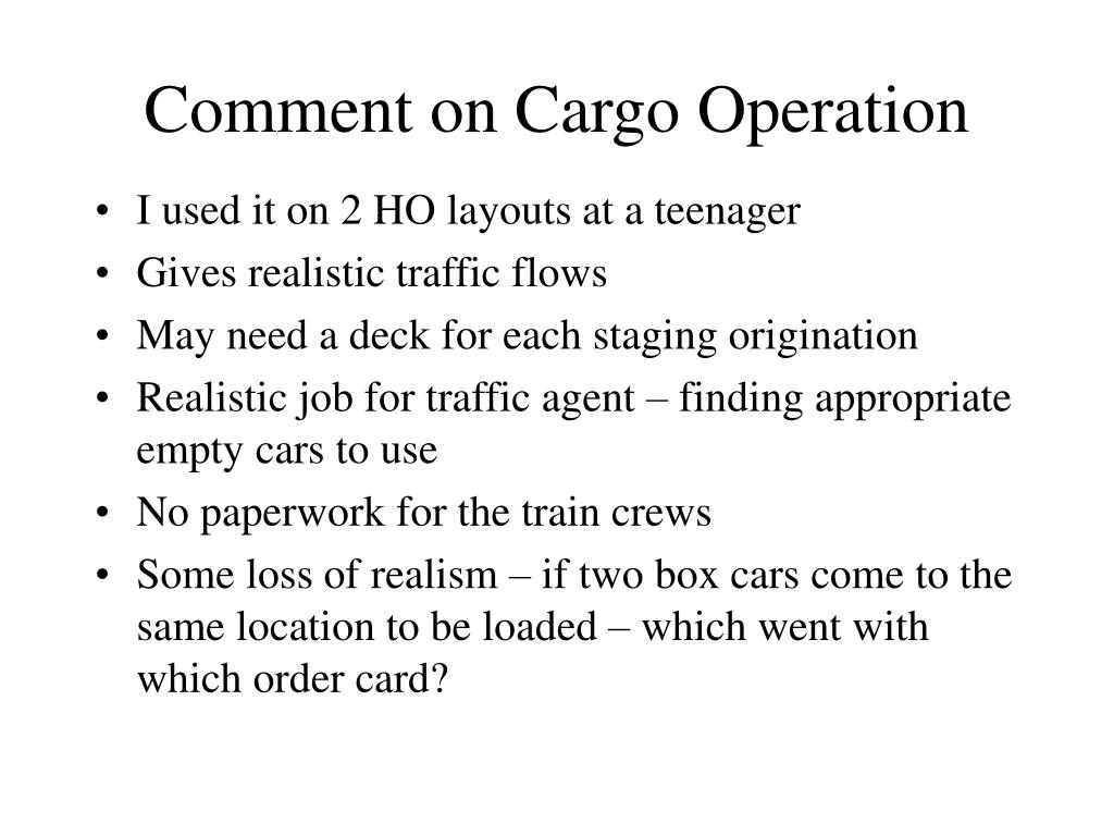 Comment on Cargo Operation
