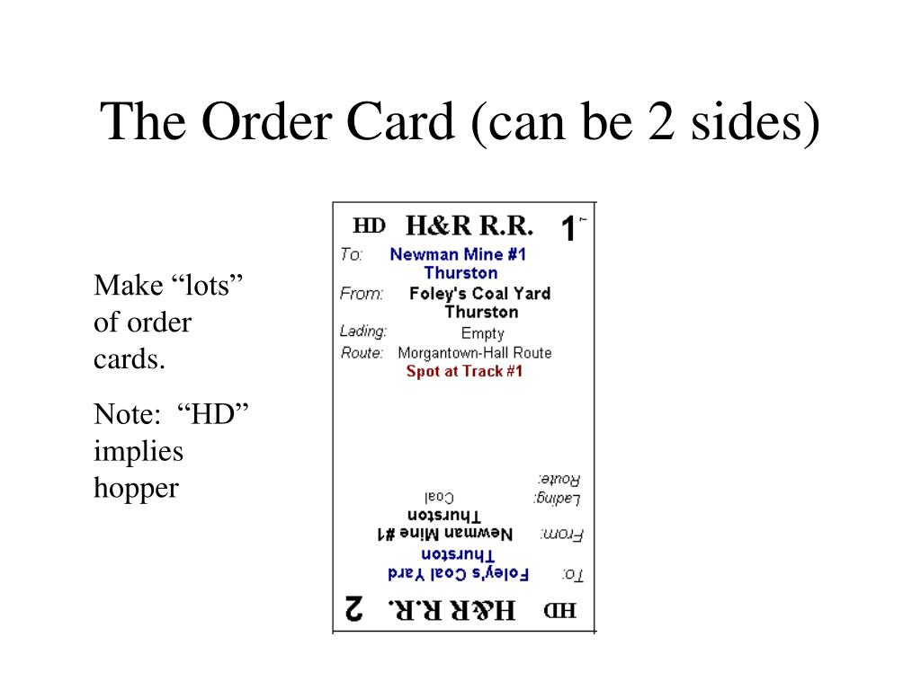 The Order Card (can be 2 sides)