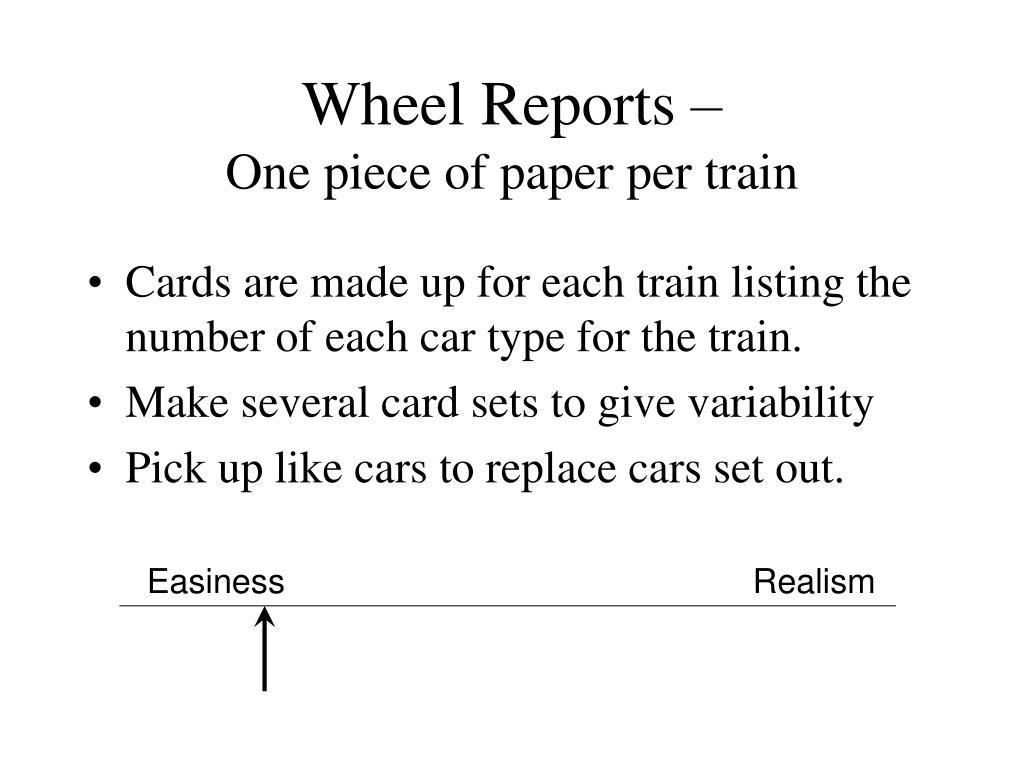 Wheel Reports –